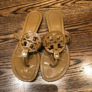 Tory Burch Miller Sandal- Tan Patent Leather- 8.5